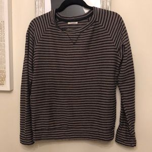 Nation LTD Striped Terry Pullover- Brown/Black
